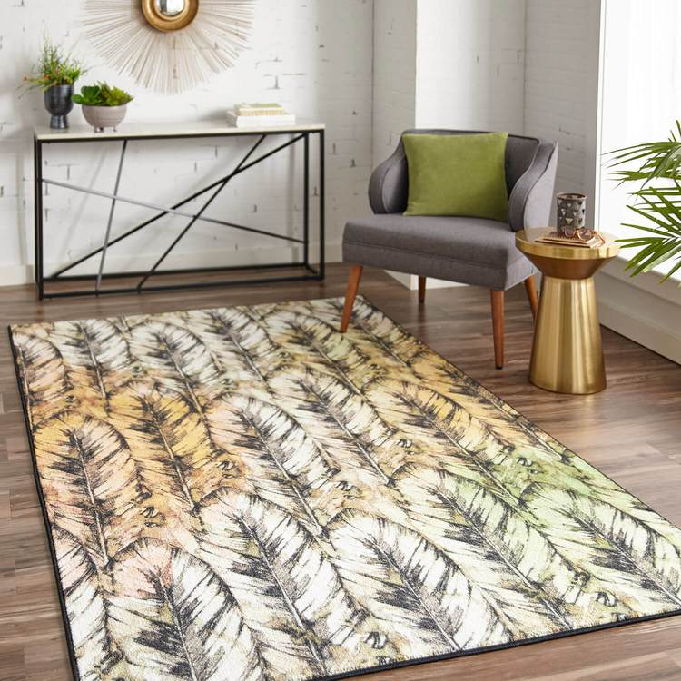 Technicolor Flight Brown  Orange Area Rug