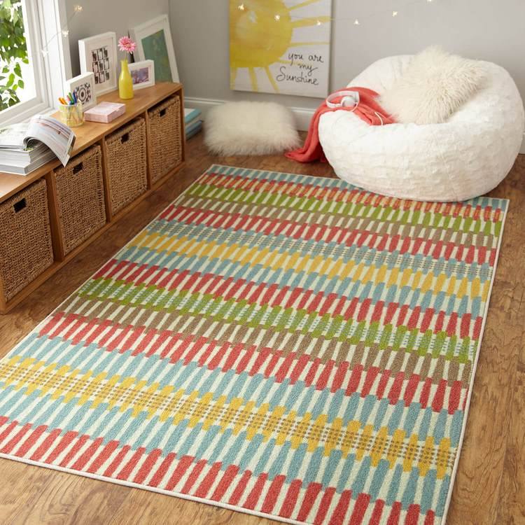 Technicolor Adella Red  Blue Area Rug