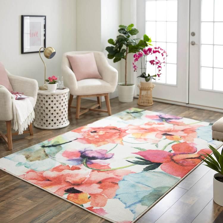 Technicolor Flora Mix White  Pink Area Rug