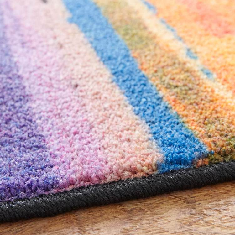 Technicolor Skyline Blue  Purple Area Rug