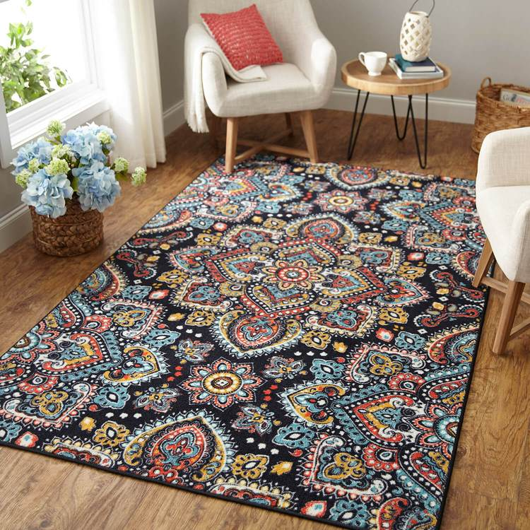 Technicolor Mandala Blue  Red Area Rug