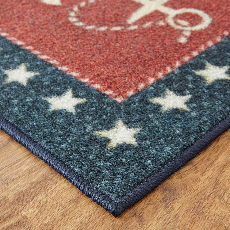 Technicolor Coastline Red  Blue Area Rug