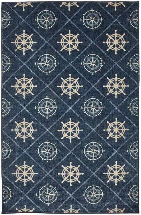 Technicolor Compass Blue Area Rug