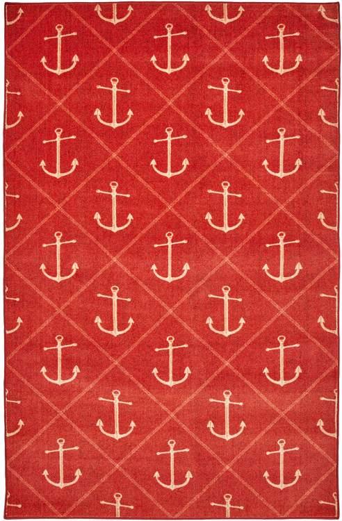 Technicolor Nautical Red Area Rug