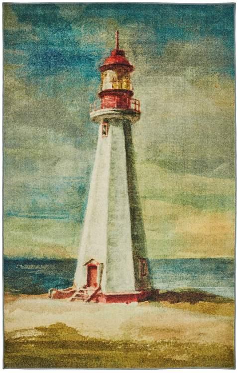 Technicolor Lighthouse Blue  Green Area Rug