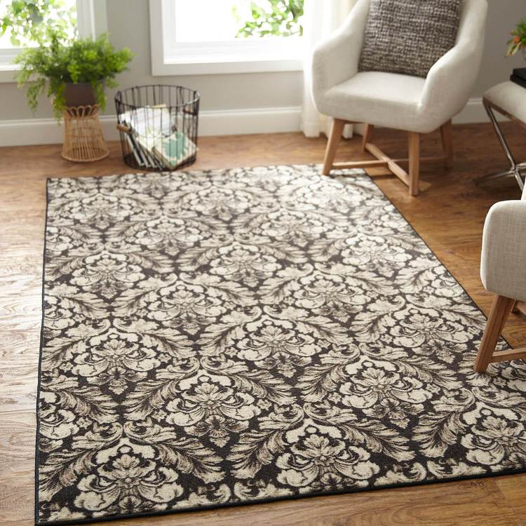 Technicolor Damask White  Brown Area Rug