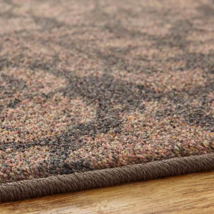 Technicolor Damask Brown Area Rug