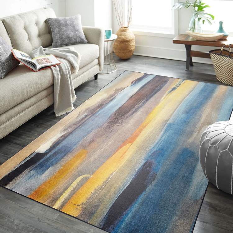 Technicolor Washed Blue  Yellow Area Rug