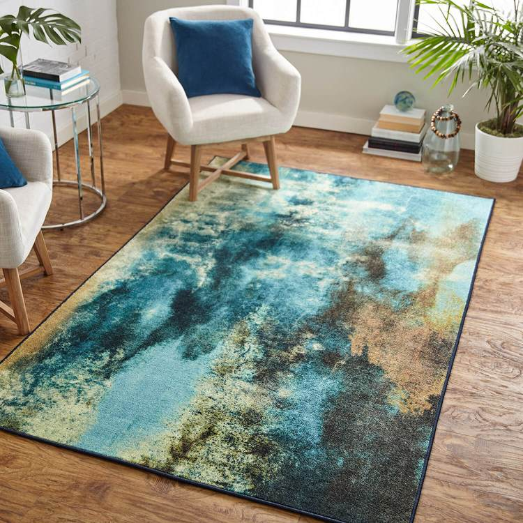 Technicolor Ice Field Blue Area Rug