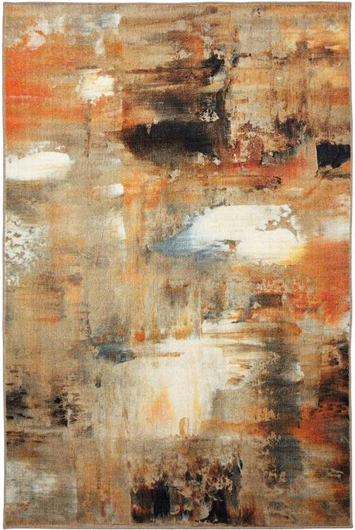 Technicolor Distressed Gray  Orange Area Rug