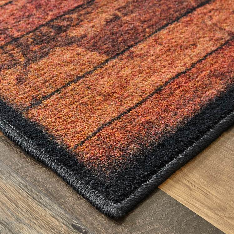 Technicolor Lonestar Brown  Red Area Rug